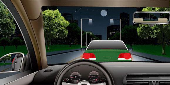 机动车夜间灯光使用_如图所示,夜间驾驶机动车与同方向行驶的前车距离较近时 ...
