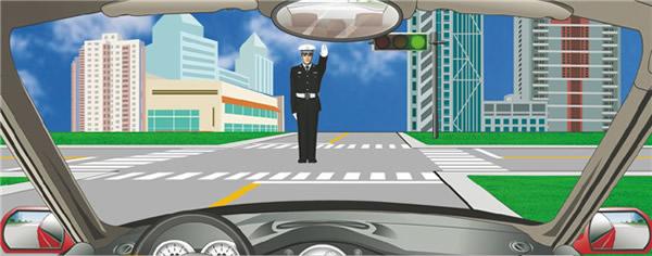 c1交通警察手势_驾驶机动车在路口遇到这种情况如何行驶? - 驾考试题库